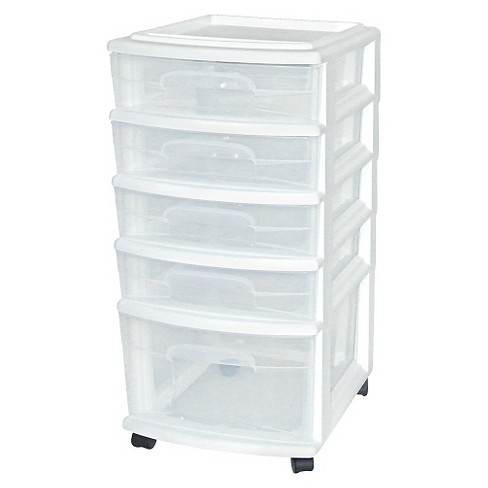 5-Drawer Medium Plastic Storage Cart - White - Room Essentials™ - image 1 of 1