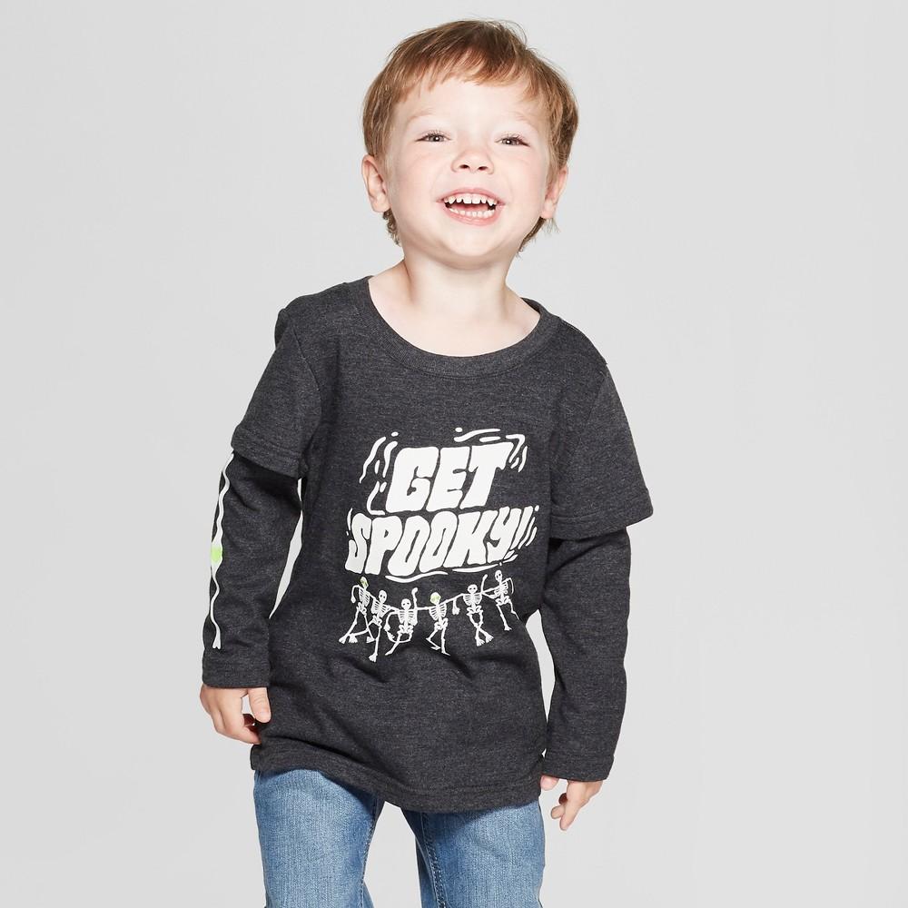 Toddler Boys' Get Spooky! Long Sleeve Layered T-Shirt - Cat & Jack Black 3T