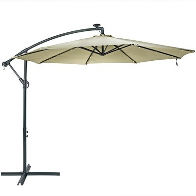 Steel Offset Cantilever Solar Patio Umbrella 10' - Beige - Sunnydaze Decor