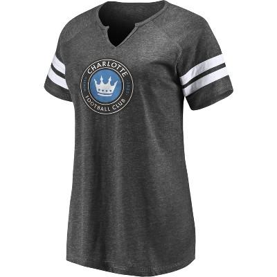 MLS Charlotte FC Women's Short Sleeve Split Neck T-Shirt