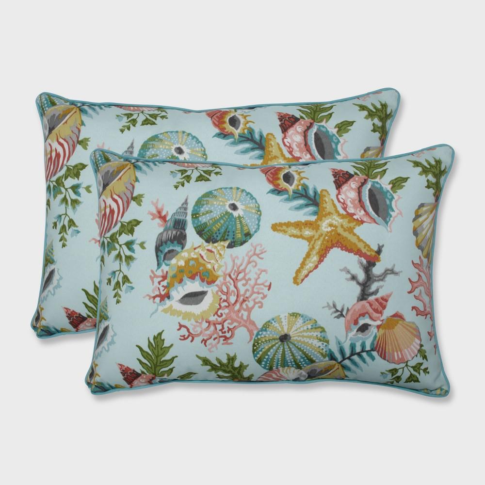 2pk Grantoli Seamist Oversized Rectangular Outdoor Throw Pillow Blue - Pillow Perfect
