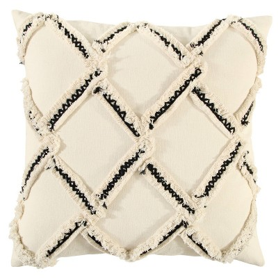 "18""x18"" Chevron Print Square Throw Pillow Natural - Rizzy Home"