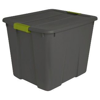 Sterilite 20 Gal Latch Tote Gray with Green Latches
