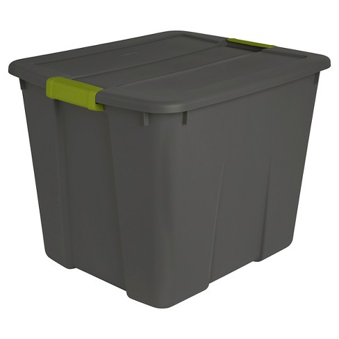 Sterilite 20 Gal Latch Tote Gray with Green Latches - image 1 of 3