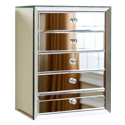 Ofelia Mirrored 5 Drawer Jewelry Box Silver - Abbyson Living