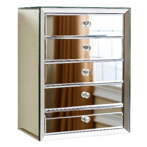Ofelia Mirrored 5 Drawer Jewelry Box - Silver - Abbyson - image 1 of 5