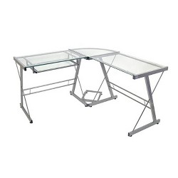 Glass L Shaped Computer Desk with Keyboard Tray - Saracina Home