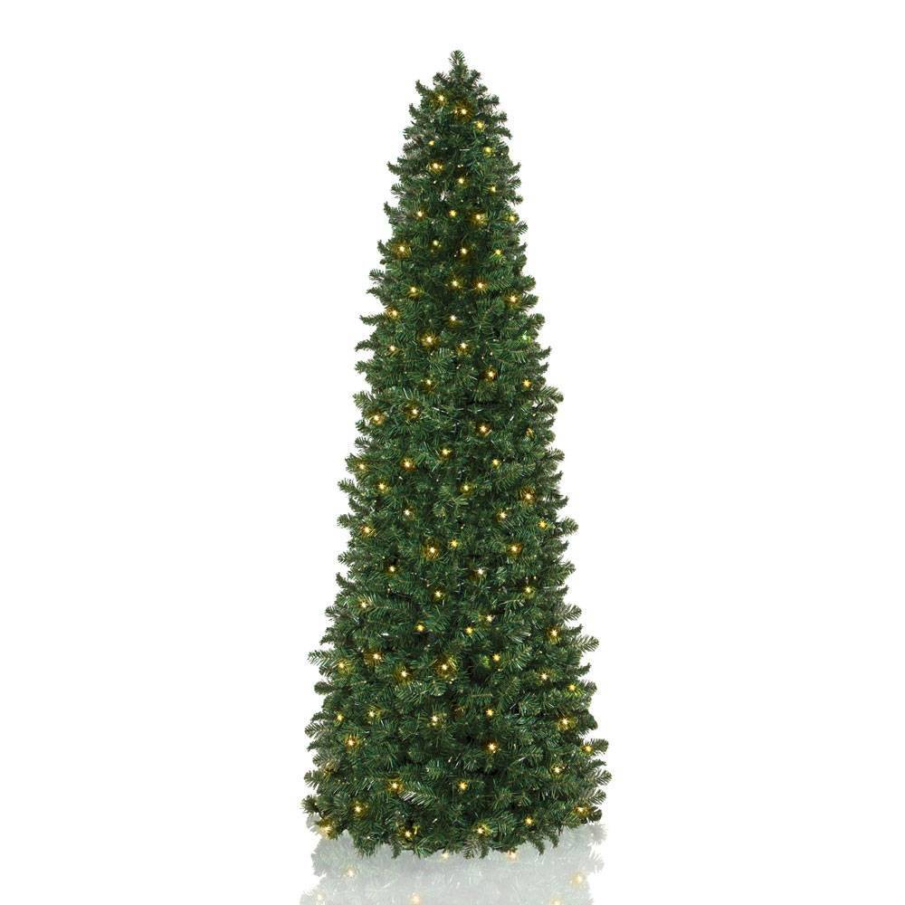 Image of 7.5ft Pre-lit LED Slim Natural Pine Artificial Christmas Tree - Easy Treezy, Green