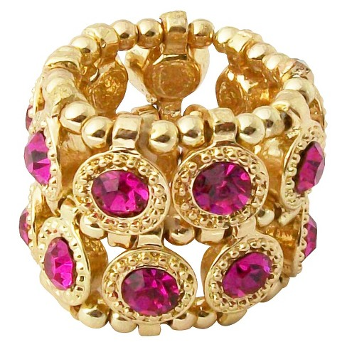Zirconite Stretch Ring with Crystals - Fuchsia - image 1 of 1