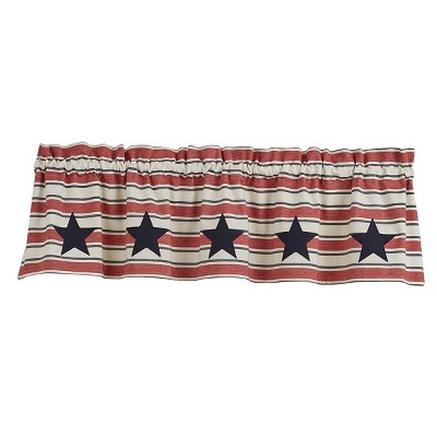 Park Designs Stars And Stripes Patch Lined Valance - 60''L - Red