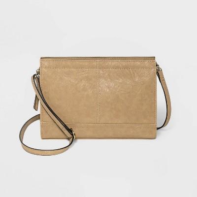 Bueno Zip Closure Mini Crossbody Bag - Beige