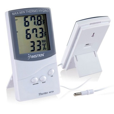 INSTEN LCD Digital Thermometer Hygrometer Meter with Dual Sensors