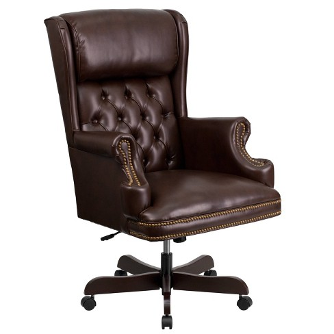 Executive Swivel Office Chair Brown, Brown Leather Office Chair