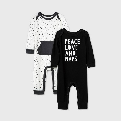 Baby Boys' 2pk 'Peace Love Naps' Long Sleeve Romper - Cat & Jack™ Black/White 0-3M