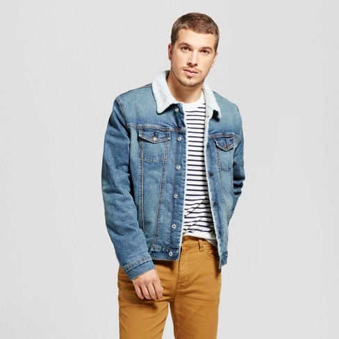 92be997a25e Men s Trucker Denim Jacket With Sherpa Lining - Goodfellow   Co™ Rinse Wash