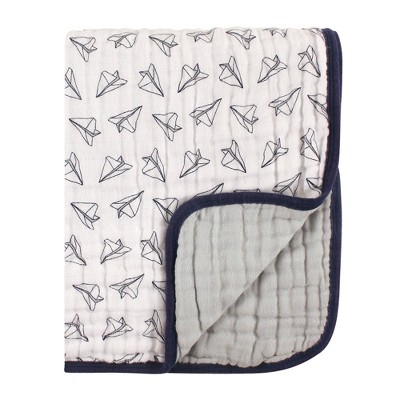 Hudson Baby Unisex Baby Muslin Tranquility Quilt Blanket - Paper Airplane One Size