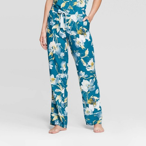 Women's Floral Print Simply Cool Pajama Pants - Stars Above™ Teal - image 1 of 2