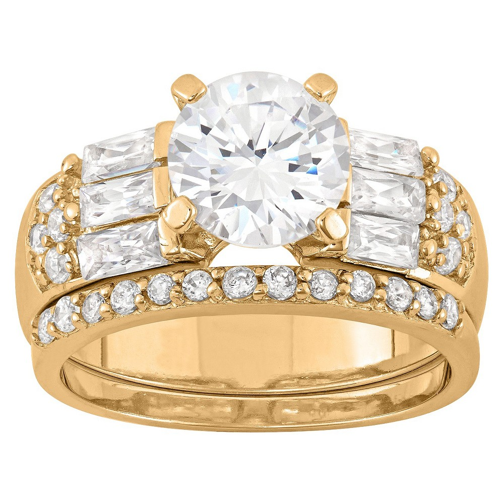 3 22 Ct T W Elegant 8mm Round Cut Cubic Zirconia With Baguette Side Stones 3 Piece Bridal Set In 14k Gold Over Silver 8