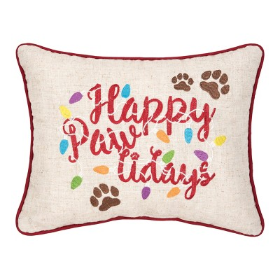 """C&F Home 12"""" x 15"""" Happy Pawlidays Embroidered Pillow"""