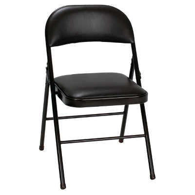 Vinyl Folding Chair - Black (Set of 4)- Cosco