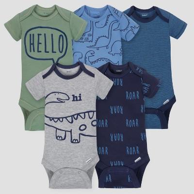 Gerber Baby Boys' 5pk Short Sleeve Onesies Bodysuit Dino - Blue 0/3M
