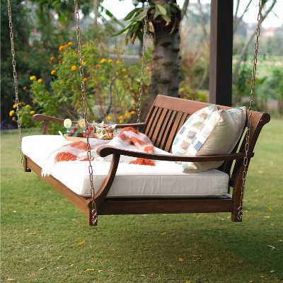 Sopra Wood Patio Swing Daybed with Cushion - White - Cambridge Casual