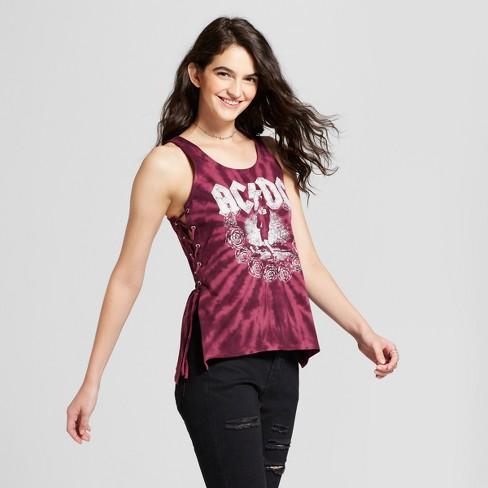 Women S Ac Dc 174 Tie Dye Lace Up Side Graphic Tank Top