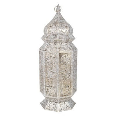 "Northlight 29.5"" White and Gold Moroccan Style Floor Pillar Candle Lantern"