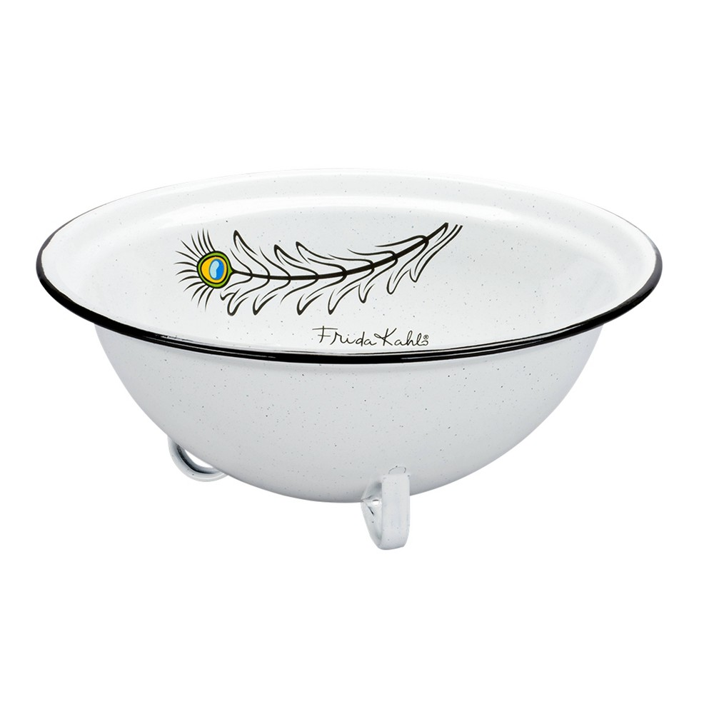 Image of 64oz Enamelware Frida Kahlo Serving Bowl White - Cinsa