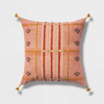 Embroidered Global Plaid Square Throw Pillow Blush - Opalhouse™