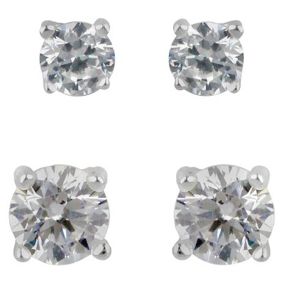 Sterling Silver Duo Round Stud Earring Set - Clear