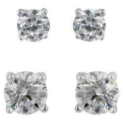 Sterling Silver Duo Round Cubic Zirconia Stud Earring Set - A New Day™ Clear