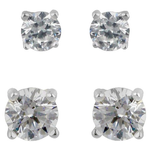 Sterling Silver Duo Round Cubic Zirconia Stud Earring Set 2pc - A New Day™ Clear - image 1 of 1