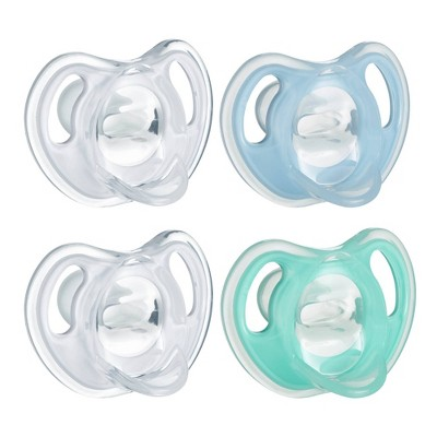 Tommee Tippee Ultra-light 4pk Silicone Baby Pacifier 0-6 Months - Blue/Green