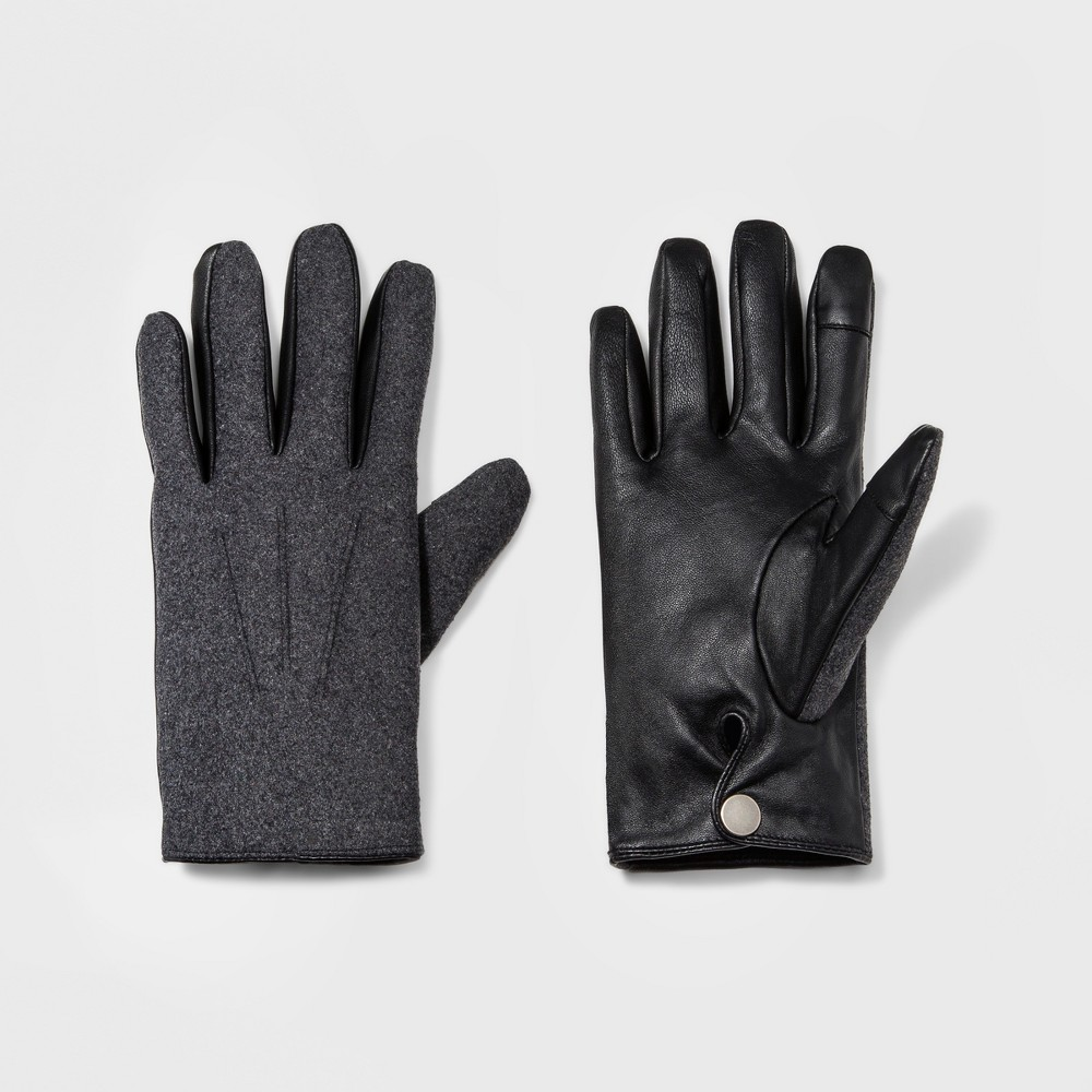 Men's Wear Fabric Leather Glove Gloves - Goodfellow & Co Grey L, Gray