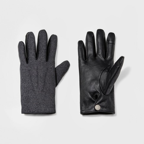 Men's Wear Fabric Leather Glove Gloves - Goodfellow & Co™ Gray - image 1 of 1