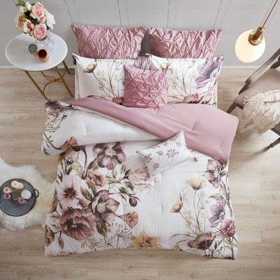 Maddy Queen 8pc Cotton Printed Comforter Set Blush