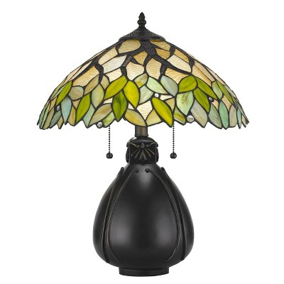 """19.25"""" Tiffany Resin Mission Design Table Lamp with Hand Cut Glass Shade Dark Bronze - Cal Lighting"""