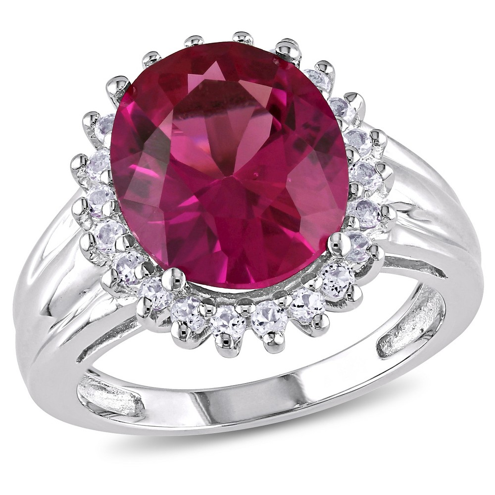7.49 CT. T.W. Oval Cut Created Ruby and.66 CT. T.W. White Topaz Halo Ring in Sterling Silver (6), Red