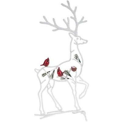 """Melrose 18.25"""" White and Red Silhouette Reindeer with Cardinal Birds Christmas Tabletop Decor"""