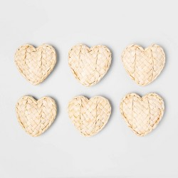 6ct Unscented Dried Corn Husk Woven Heart Vase Filler - Opalhouse™