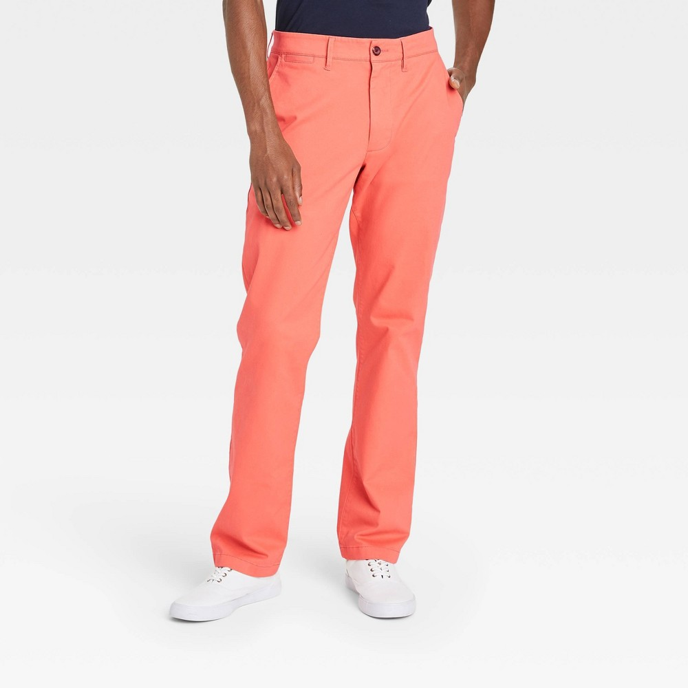 Men 39 S Straight Fit Chino Pants Goodfellow 38 Co 8482 Coral Stone 30x32