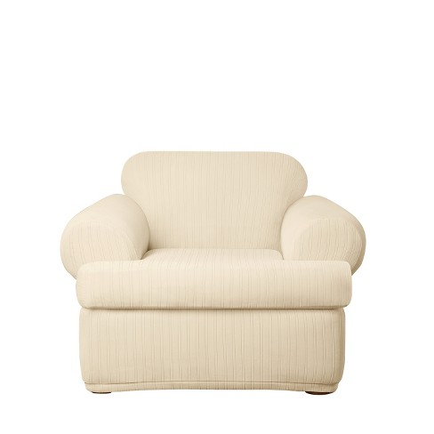 Stretch Pinstripe T-Chair Slipcover - Sure Fit - image 1 of 2