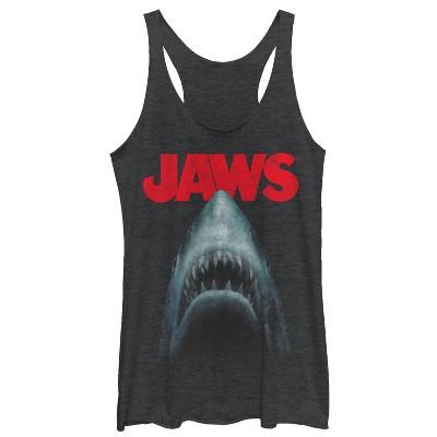Women's Jaws Shark Teeth Poster Racerback Tank Top
