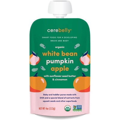 Cerebelly Clean Label Project Purity Award Winning,  White Bean Pumpkin Apple Organic Baby Food Pouch - 4oz