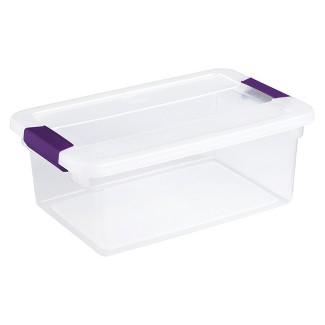 Sterilite® ClearView Latch Storage Bin Clear with Purple Latch 3.75gal