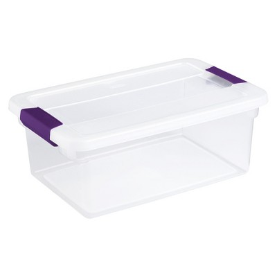 Superior Sterilite® ClearView Latch Storage Bin Clear With Purple Latch 3.75gal