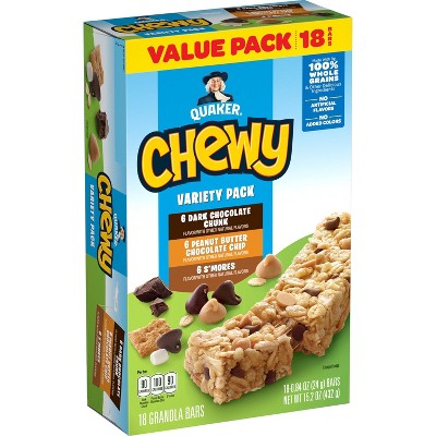 Quaker Chewy Dark Chocolate Chunk, Peanut Butter Chocolate Chip & S'mores Granola Bars Variety Pack - 18ct