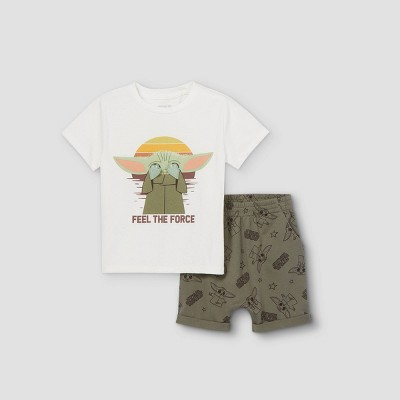 Toddler Boys' Star Wars Baby Yoda Short Sleeve T-Shirt and French Terry Short Set - White 12M