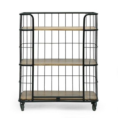 Colwill Modern Industrial Handcrafted Mango Wood Kitchen Cart with Wheels Natural/Black - Christopher Knight Home